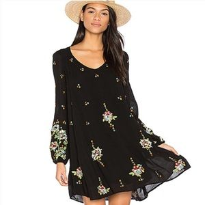 NWT Free People Embroidered Black Oxford Dress Med